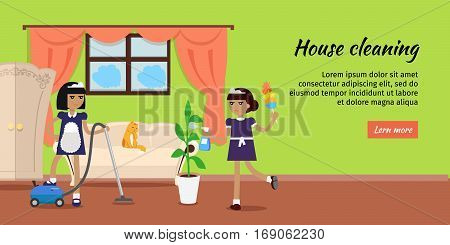 House cleaning vector web banner. Flat design. Maids with vacuum cleaner, whisk dust and sprayer working in apartment. Home servants. Illustration for cleaning companies and services web page design