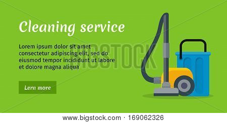 green cleaning service banner with blue bucket and yellow vacuum cleaner house cleaning service