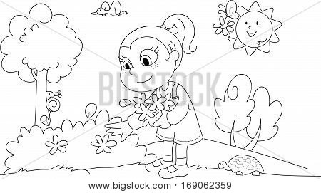 Girl picking flowers in a sunny wood. Coloring illustration.