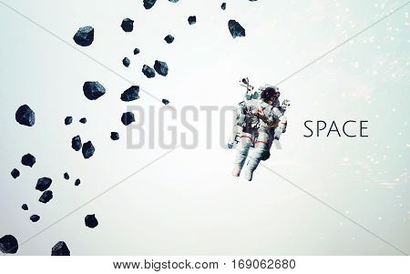 Outer space modern minimalistic art. Dualtone, anaglyph. Elements of this image furnished by NASA