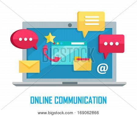 Online communication. Laptop with chat web conversation signs isolated on white. Interface dialog, talk button, application speech balloon, message, sms, email. App icon flat style design. Vector