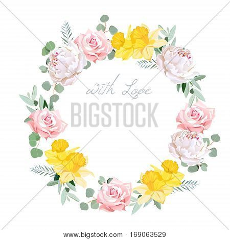 Spring delicate white peony pink rose yellow daffodil and eucalyptis leaves round vector frame. Sunny and happy design card. All elements are isolated and editable.
