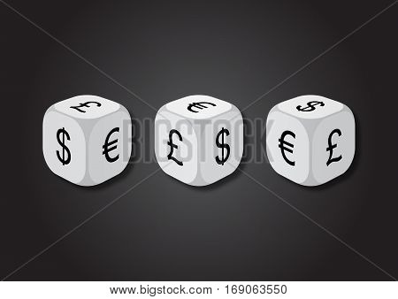 A 3D illustration of three dice with currency symbols. On each face of the dice are illustrated symbols of dollar euro and pound.