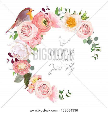 Stylish floral vector round frame with ranunculus peony rose green plants and small robin bird on white. Peachy white and yellow flowers. Crescent shape bouquet. All elements are editable.