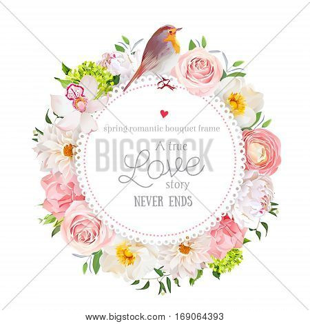 Floral vector round card with white peony peachy rose and ranunculus dahlia carnation flowers green hydrangea mixed plants and cute small robin bird. All elements are isolated and editable.