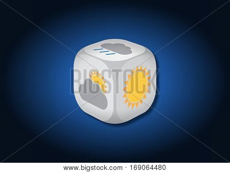 A 3D illustration of a dice with meteorological symbols. On each face of the dice are illustrated symbols representing different weather conditions.