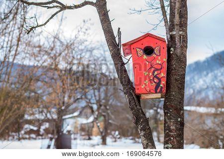 Red painted handmade nest box hanging on tree