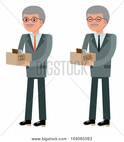 The elderly manager smiles with joy when he took the job, and sad at the dismissal. New job, hiring and dismissal concept. Set in flat design. Cartoon vector flat-style illustration