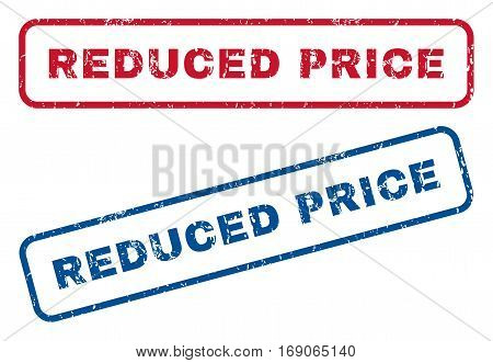 Reduced Price text rubber seal stamp watermarks. Vector style is blue and red ink tag inside rounded rectangular shape. Grunge design and unclean texture. Blue and red signs.