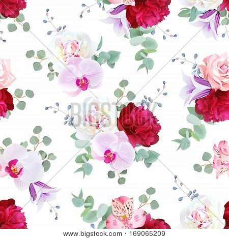 Romantic delicate seamless vector print in purple red and white tones. Peony alstremeria lily rose violet campanula orchid eucalyptus.
