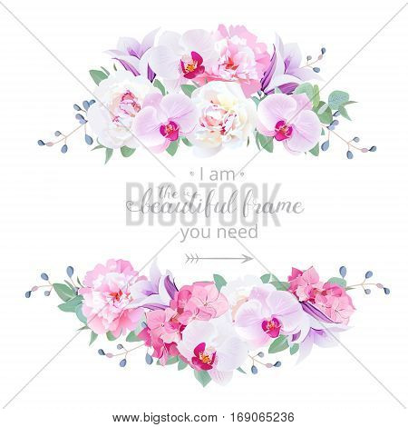 Wedding floral vector design horizontal card. Pink and white peony purple orchid hydrangea violet campanula flowers frame. All elements are isolated and editable