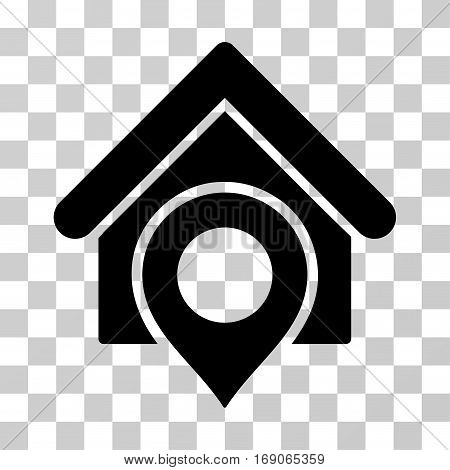 Realty Location icon. Vector illustration style is flat iconic symbol, black color, transparent background. Designed for web and software interfaces.