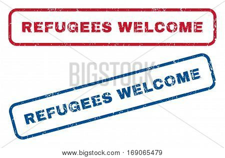 Refugees Welcome text rubber seal stamp watermarks. Vector style is blue and red ink tag inside rounded rectangular shape. Grunge design and scratched texture. Blue and red stickers.