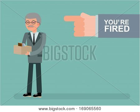 The chief dismisses the employee. Youre fired. Boss getting fired by employee. The hand points ex-boss on the way out. Cartoon vector flat-style illustration