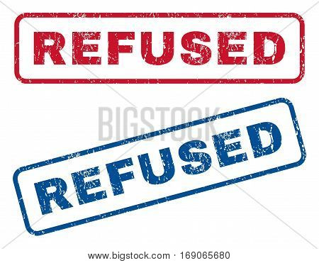 Refused text rubber seal stamp watermarks. Vector style is blue and red ink caption inside rounded rectangular shape. Grunge design and dirty texture. Blue and red emblems.