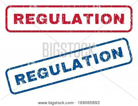 Regulation text rubber seal stamp watermarks. Vector style is blue and red ink caption inside rounded rectangular shape. Grunge design and scratched texture. Blue and red stickers.