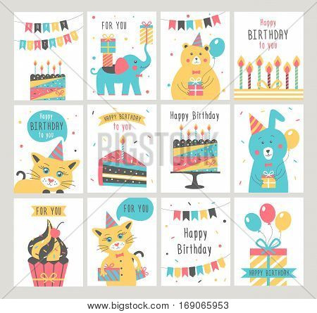 Happy Birthday card set. Birthday party. Vector illustration
