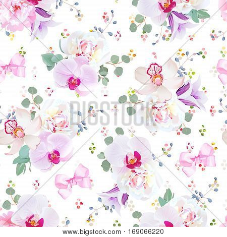 Elegant seamless vector print in purple pink and white tones. Peony violet campanula orchid eucalyptus. Simple pattern with satin pink bows and blue berries. Rainbow round confetti backdrop.