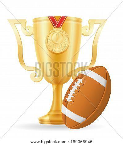 Football Cup Winner Gold Stock Vector Illustration