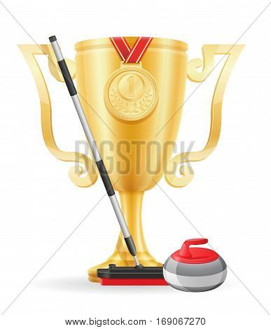 Curling Cup Winner Gold Stock Vector Illustration
