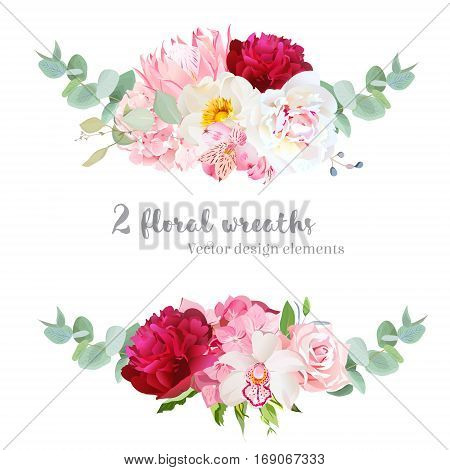 Floral mix wreath vector design set. Pink hydrangea rose protea white and burgundy red peony orchid alstroemeria lily eucalyptus. Stylish horizontal flower banners. All elements are editable.