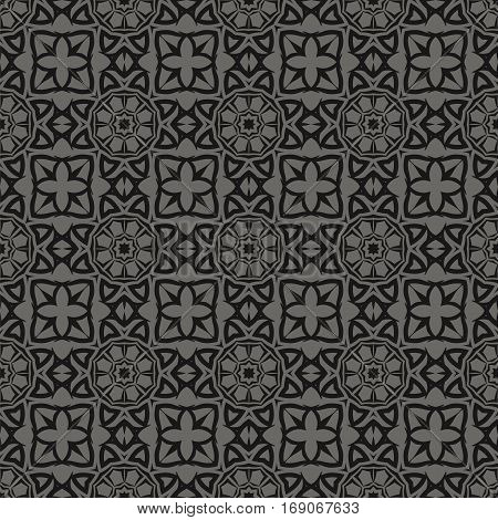 Decorative Retro Seamless Pattern. Ornamental Grey Background