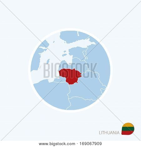 Map Icon Of Lithuania. Blue Map Of Europe With Highlighted Lithuania In Red Color.