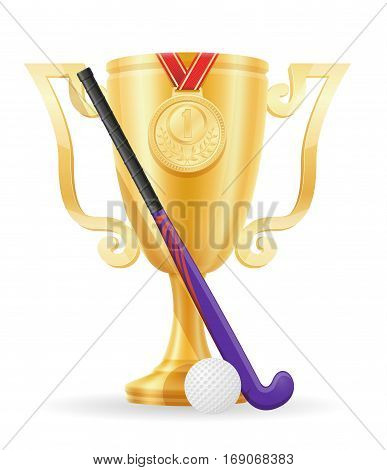 Hockey On The Field Cup Winner Gold Stock Vector Illustration