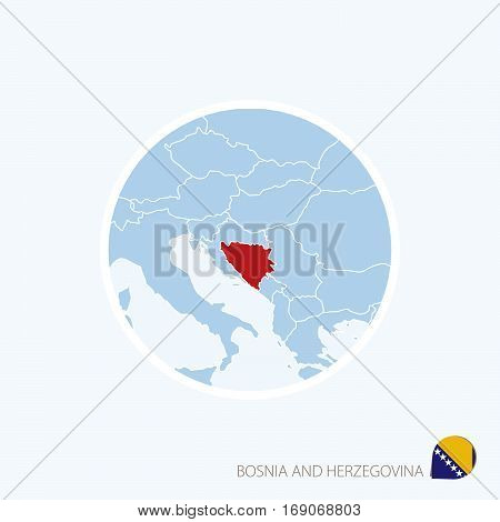 Map Icon Of Bosnia And Herzegovina. Blue Map Of Europe With Highlighted Bosnia And Herzegovina In Re