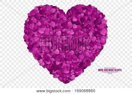 Abstract Vector 3d Hearts on Transparent Backdrop. Valentine's Day illustration