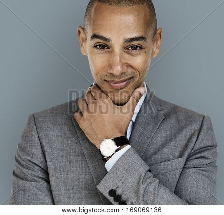 African Descent Business Man Smirk Concept