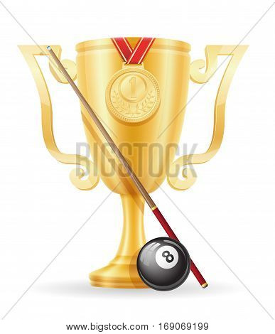 Pool Billiards Cup Winner Gold Stock Vector Illustration