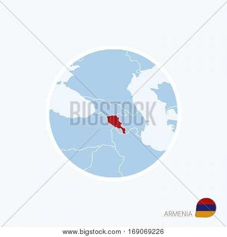 Map Icon Of Armenia. Blue Map Of Europe With Highlighted Armenia In Red Color.