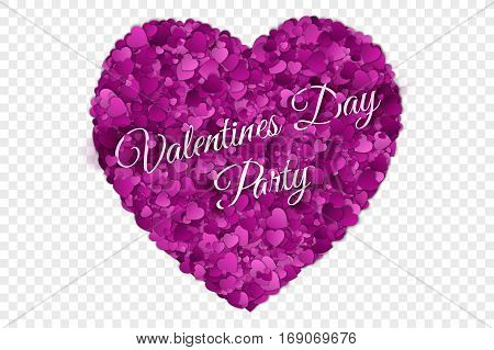 Valentine's Day Party Vector illustration. Abstract Vector 3d Hearts on Transparent Backdrop