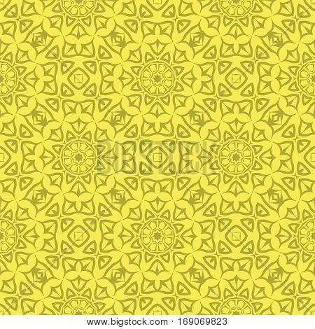 Decorative Retro Seamless Pattern. Ornamental Yellow Background