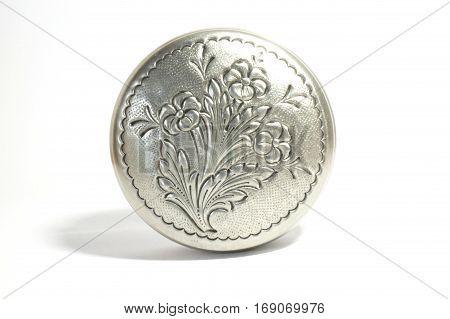 Silver metallic retro casket over white background.
