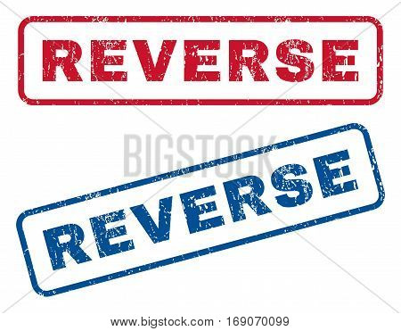 Reverse text rubber seal stamp watermarks. Vector style is blue and red ink tag inside rounded rectangular banner. Grunge design and dust texture. Blue and red signs.