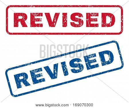 Revised text rubber seal stamp watermarks. Vector style is blue and red ink tag inside rounded rectangular shape. Grunge design and scratched texture. Blue and red stickers.