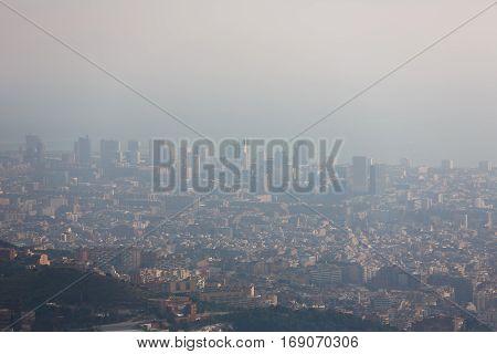 Smog buildings of the Barcelona city, Spain