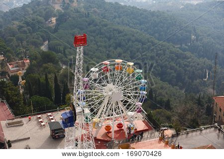 Barcelona Spain - January 03 2017: Ferris wheel in an amusement park on the Tibidabo hill in Barcelona