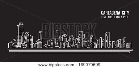 Cityscape Building Line art Vector Illustration design - Cartagena city