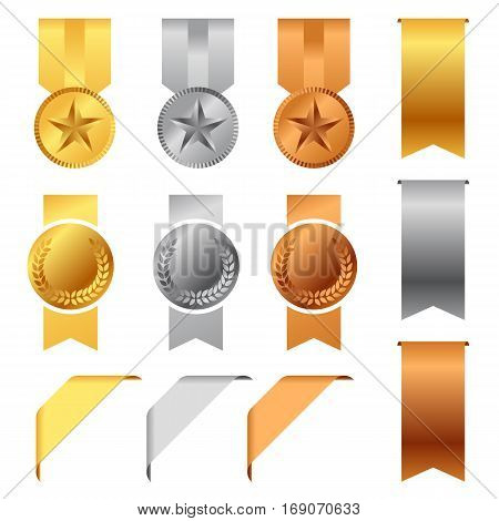 Gold Silver And Bronze Award Medals and Award Ribbons vector set design