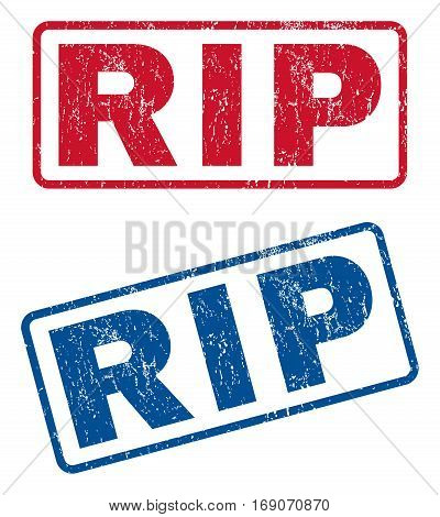 Rip text rubber seal stamp watermarks. Vector style is blue and red ink tag inside rounded rectangular banner. Grunge design and unclean texture. Blue and red emblems.