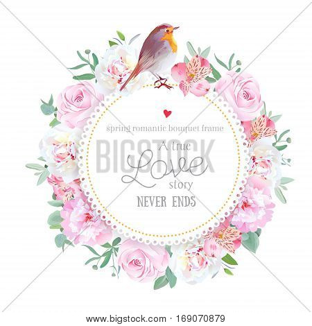 Floral vector round card with white and pink peony rose alstroemeria lily eucalyptus mixed plants and cute small robin bird. All elements are isolated and editable.