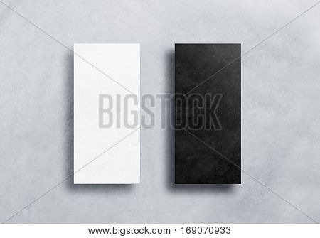 Blank black and white dl flyers mockups set. Clear and dark textured leaflets covers mock ups, front view. Craft booklets ready for design preview presentation. Printing empty paper sheets.