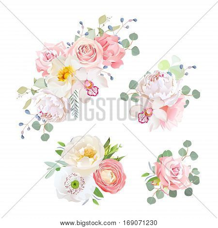 Spring delicate bouquets vector design objects. Peachy and pink roses peony carnation orchid white poppy ranunculus flowers eucalyptus. All elements are isolated and editable