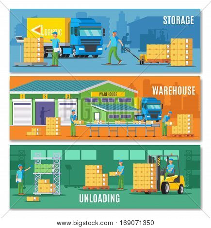 Storage horizontal banners with warehouse buildings transportation calculation and unloading processes vector illustration