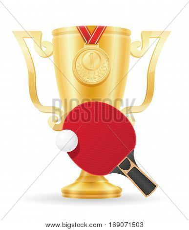 ping-pong cup winner gold stock vector illustration isolated on white background
