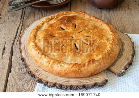 Flacky Dough Pie With Meat And Vegetables