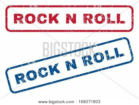 Rock N Roll text rubber seal stamp watermarks. Vector style is blue and red ink tag inside rounded rectangular shape. Grunge design and scratched texture. Blue and red stickers.